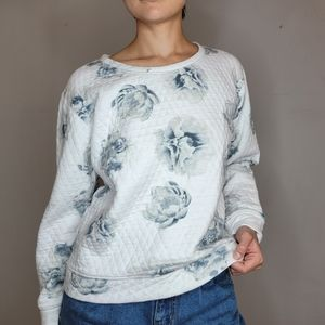 LOFT quilted crew neck sweater